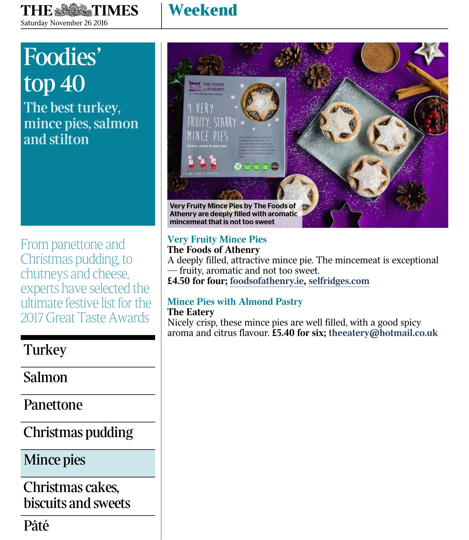 Foodies top 40 The Times