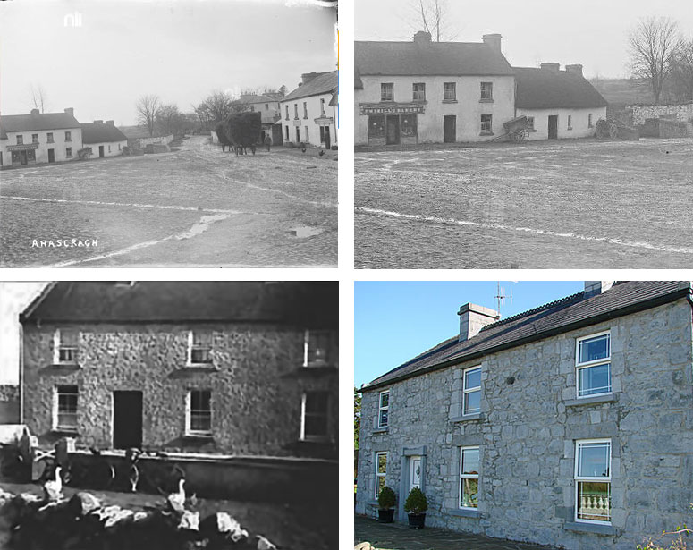From left to right clockwise: 1.) Twibills bakery in Ahascragh from the 1920's. My grandmothers bakery. 2.) Closeup of the bakery front. 3.) Foods of Athenry farmhouse circa 1940. 4.) Foods of Athenry Farmhouse today.