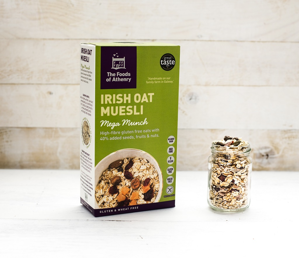 The Foods of Athenry Irish Oat Muesli box and jar www.foodsofathenry.ie