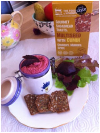 Roasted Beetroot and Walnut Hummus, with Multiseed Toasts