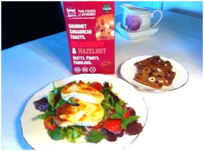 Grilled Halloumi  with Cranberry & Hazelnut Toasts