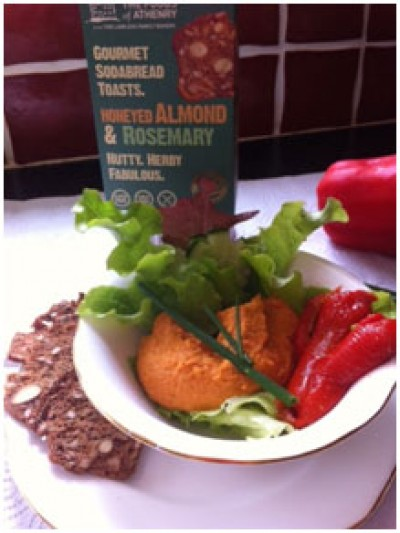 Roasted Red Pepper Houmous with      Almond and Rosemary Toasts