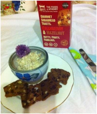 Smoked Mackerel Pate with Cranberry and Hazelnut toasts